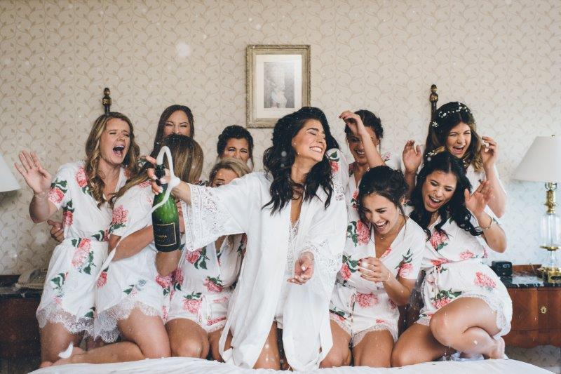 Popping bottles with the Bride Tribe