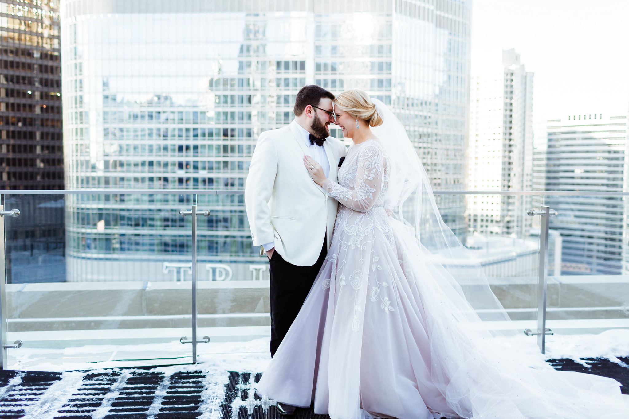 Bride and groom portrait outside downtown Chicago