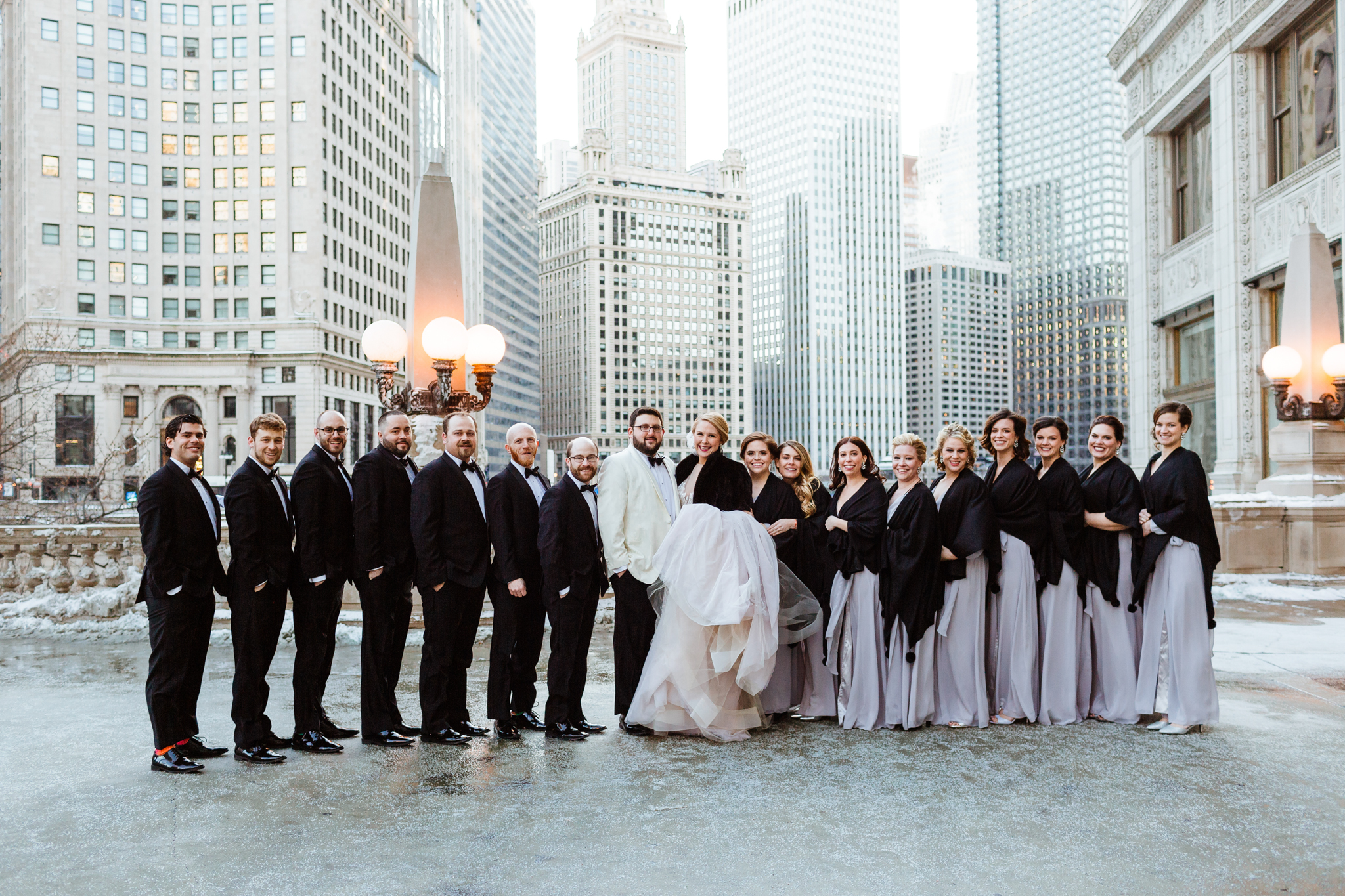 Bridal crew in downtown Chicago