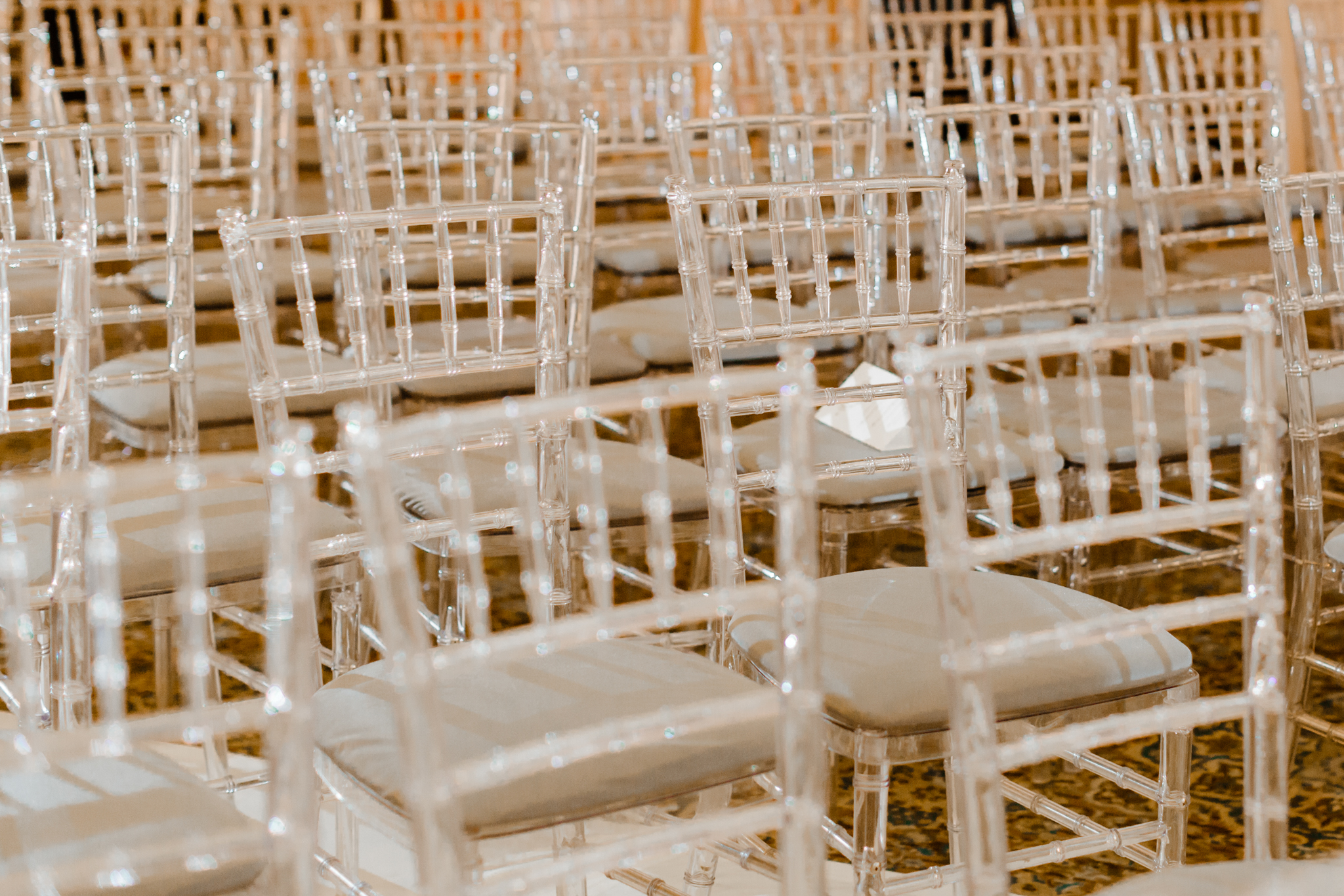 Clear chiavari chairs at the Chicago Cultural Center