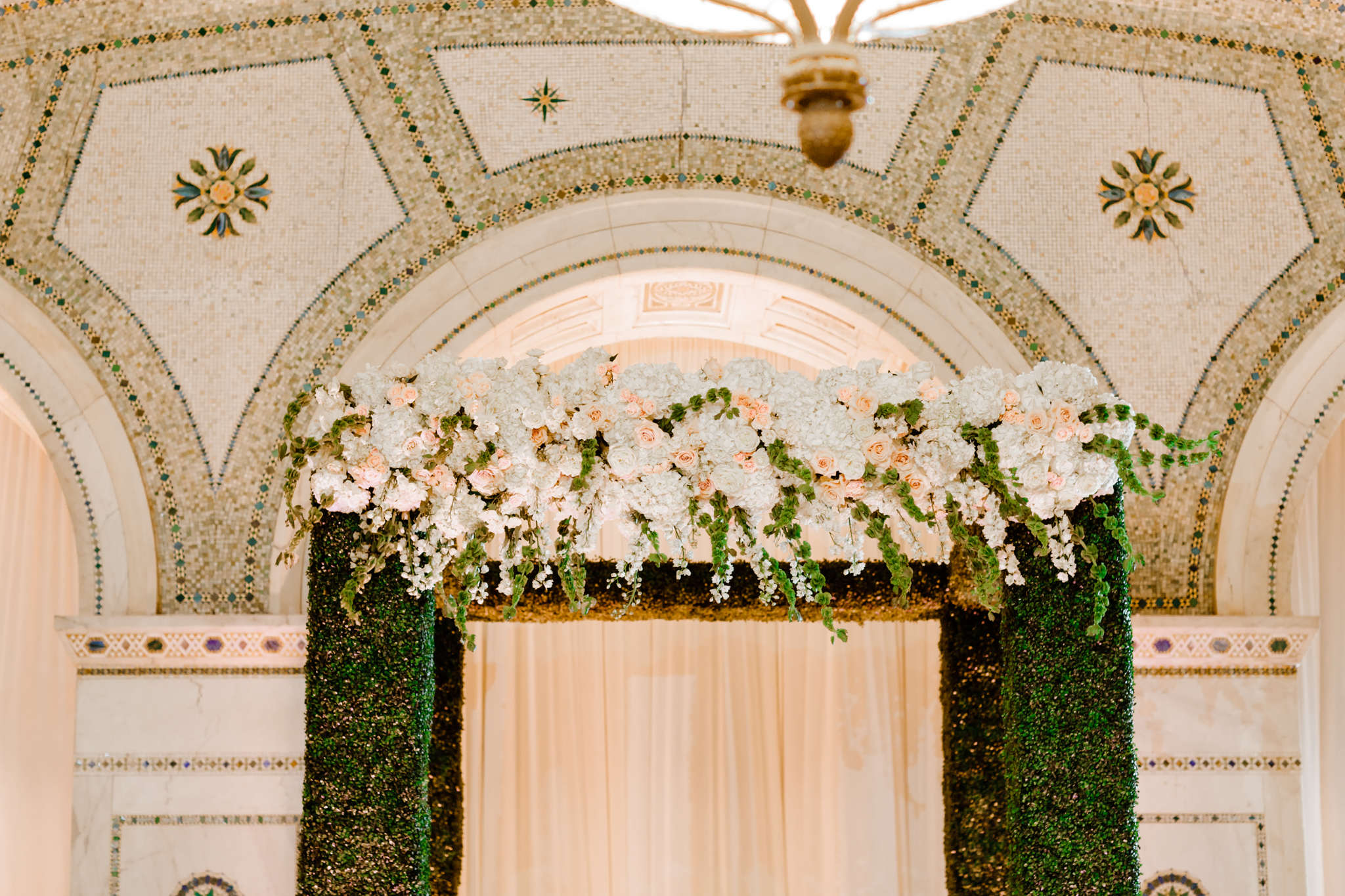 Chuppah details with floral on top
