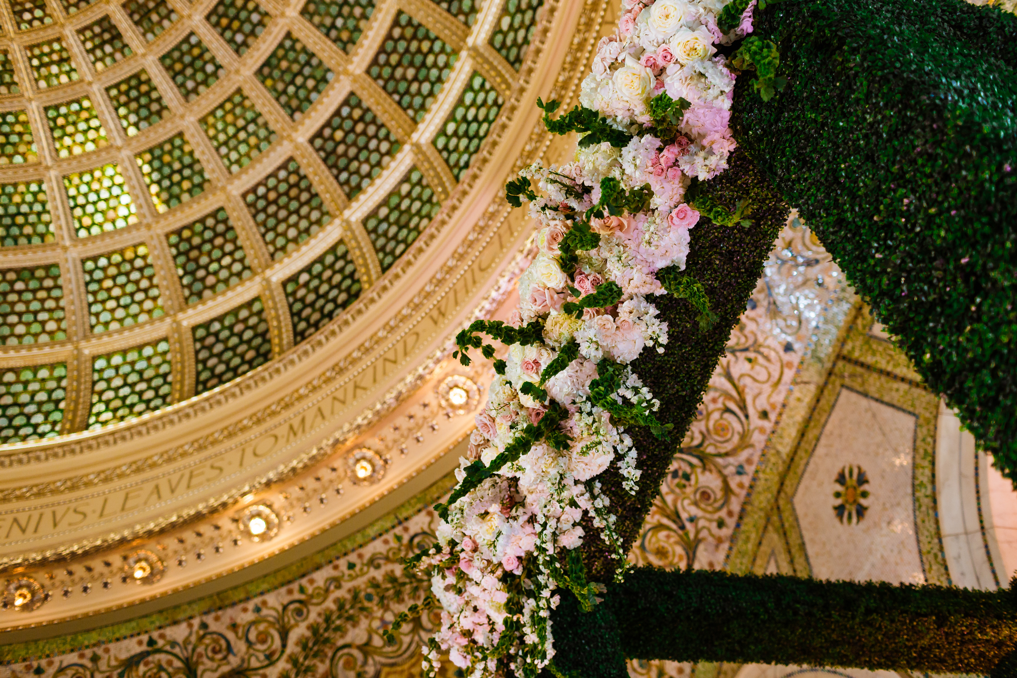 Stunning chuppah details under the Tiffany Dome at the Chicago Cultural Center in downtown Chicago