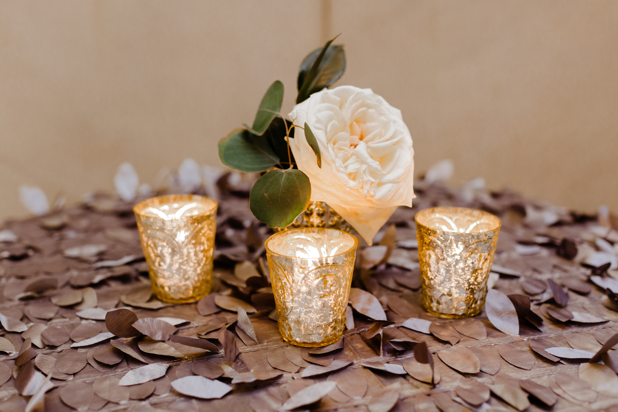 Floral centerpieces on highboys