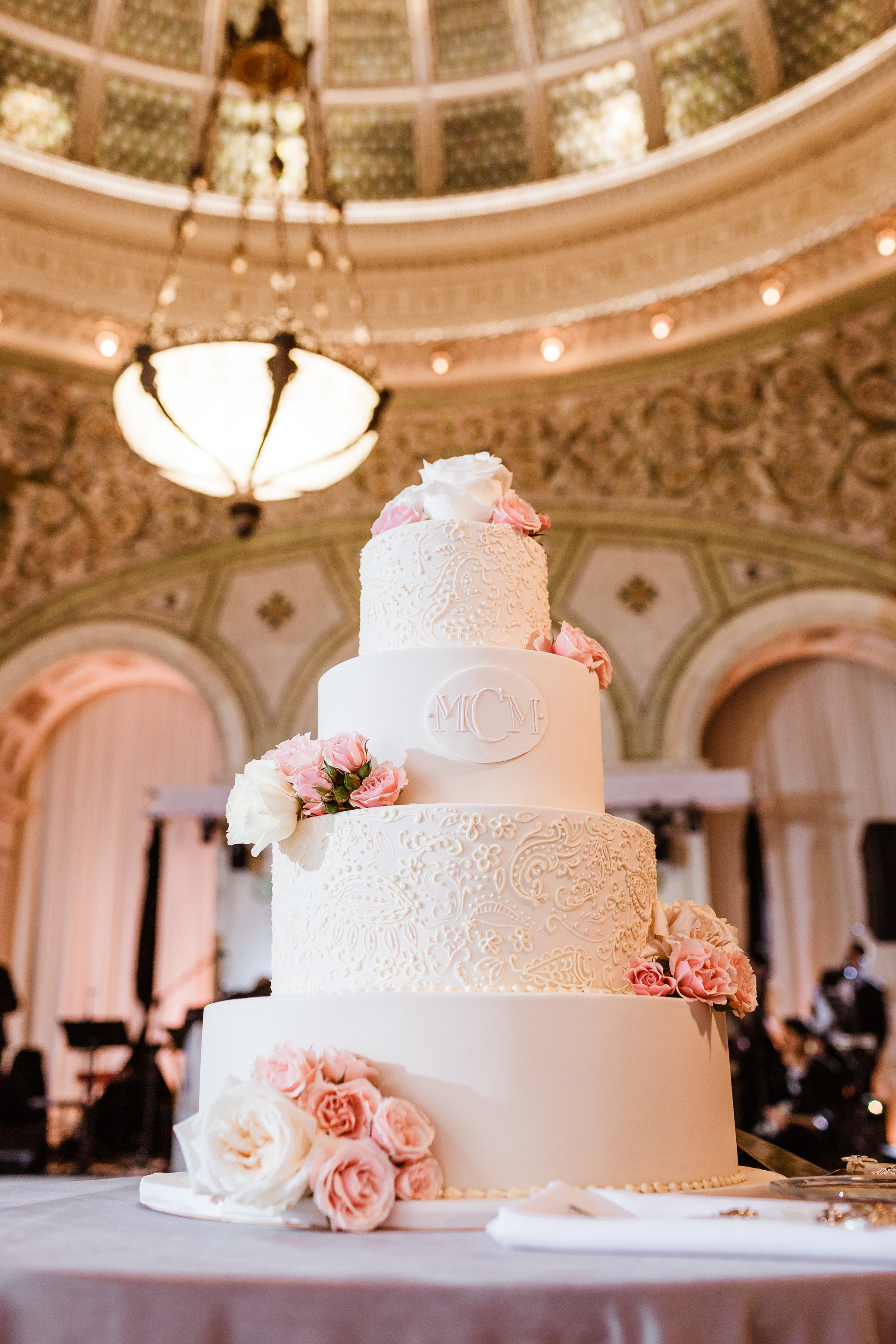 Cake under the Tiffany dome at the Chicago Cultural Center