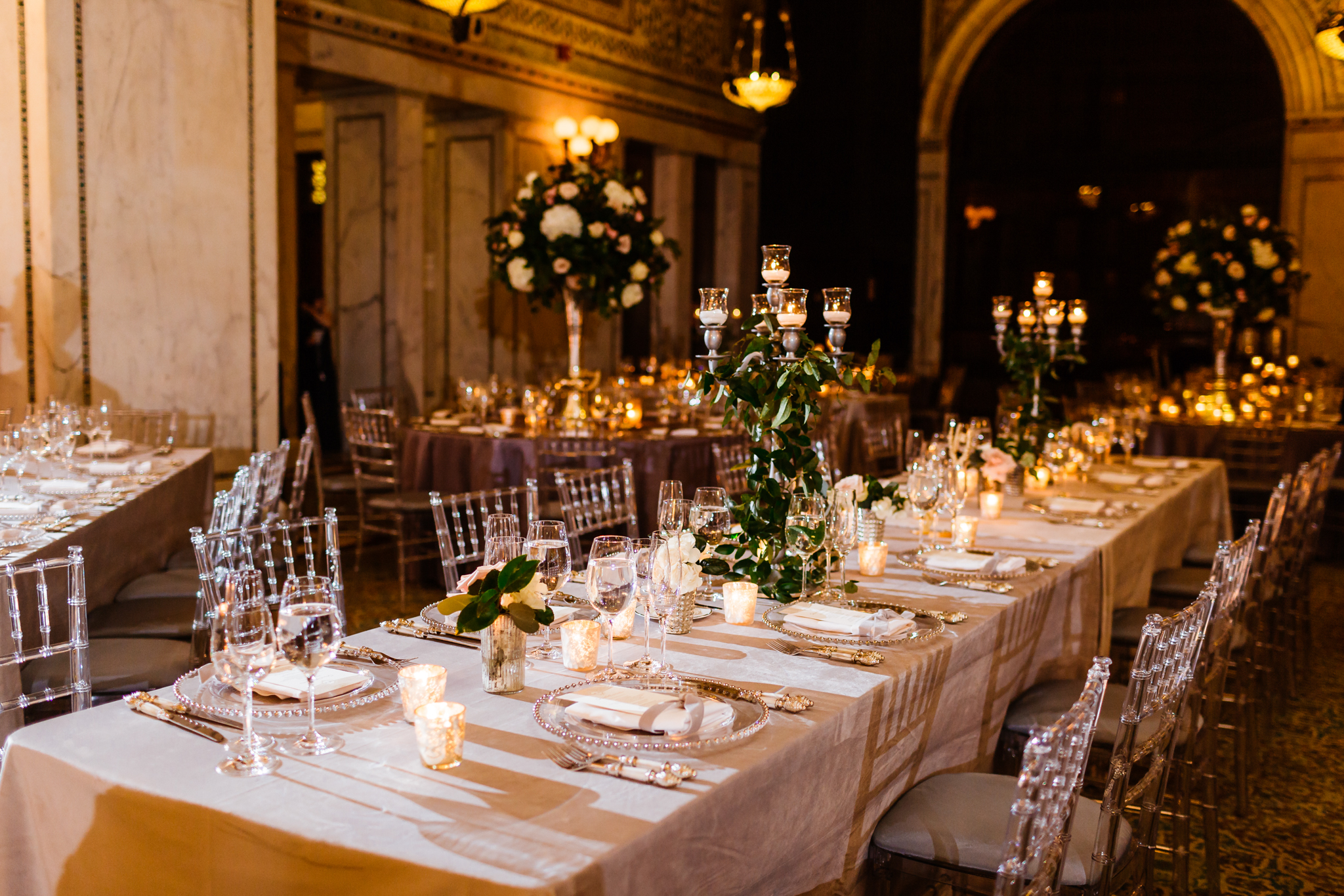 Room view with different centerpieces