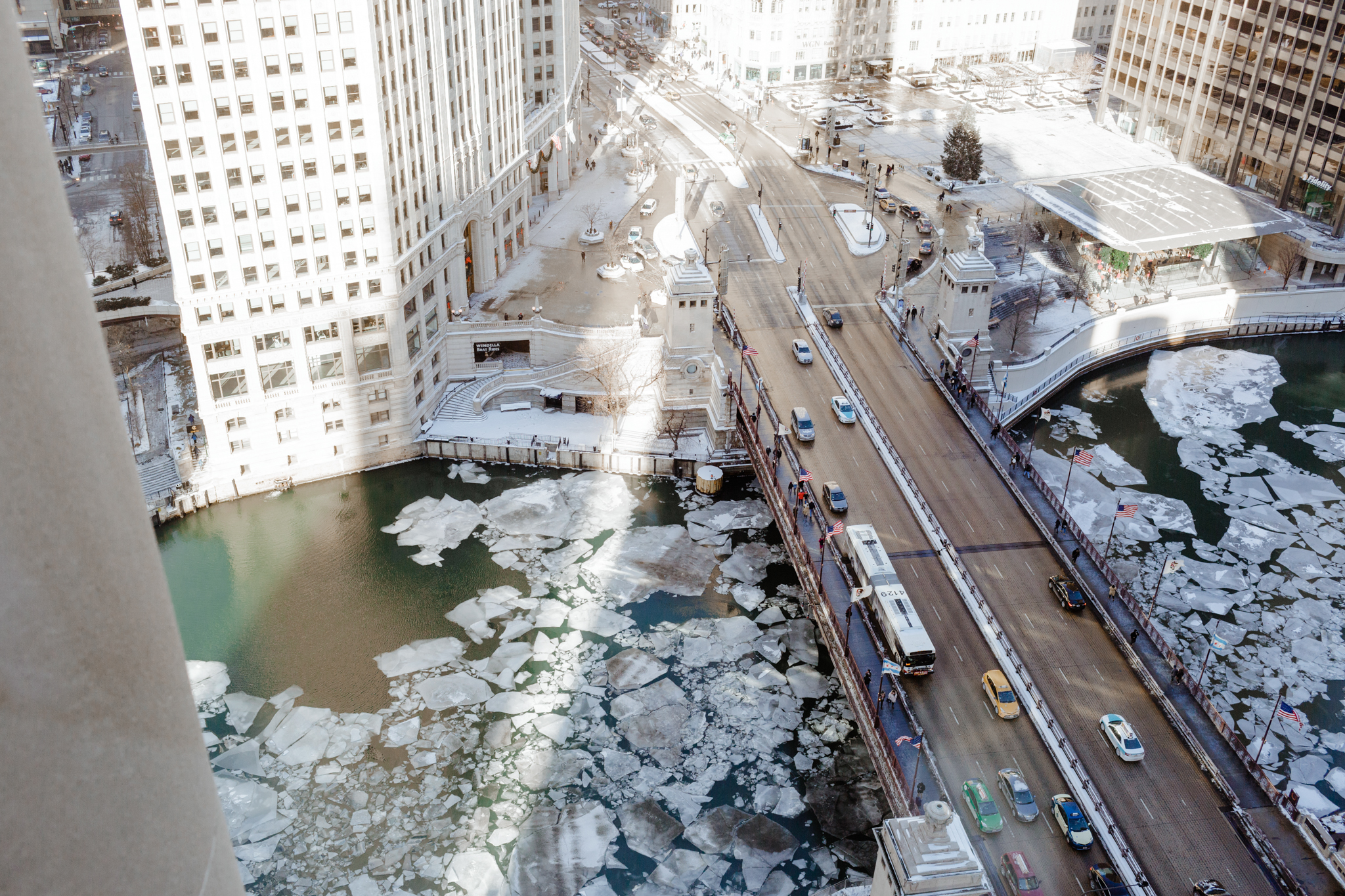 Icy Chicago River in Winter