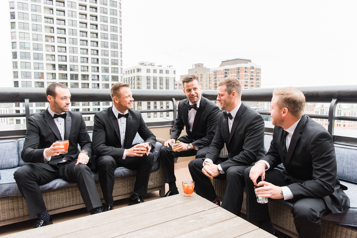 Groom and his best men on the roof in downtown Chicago
