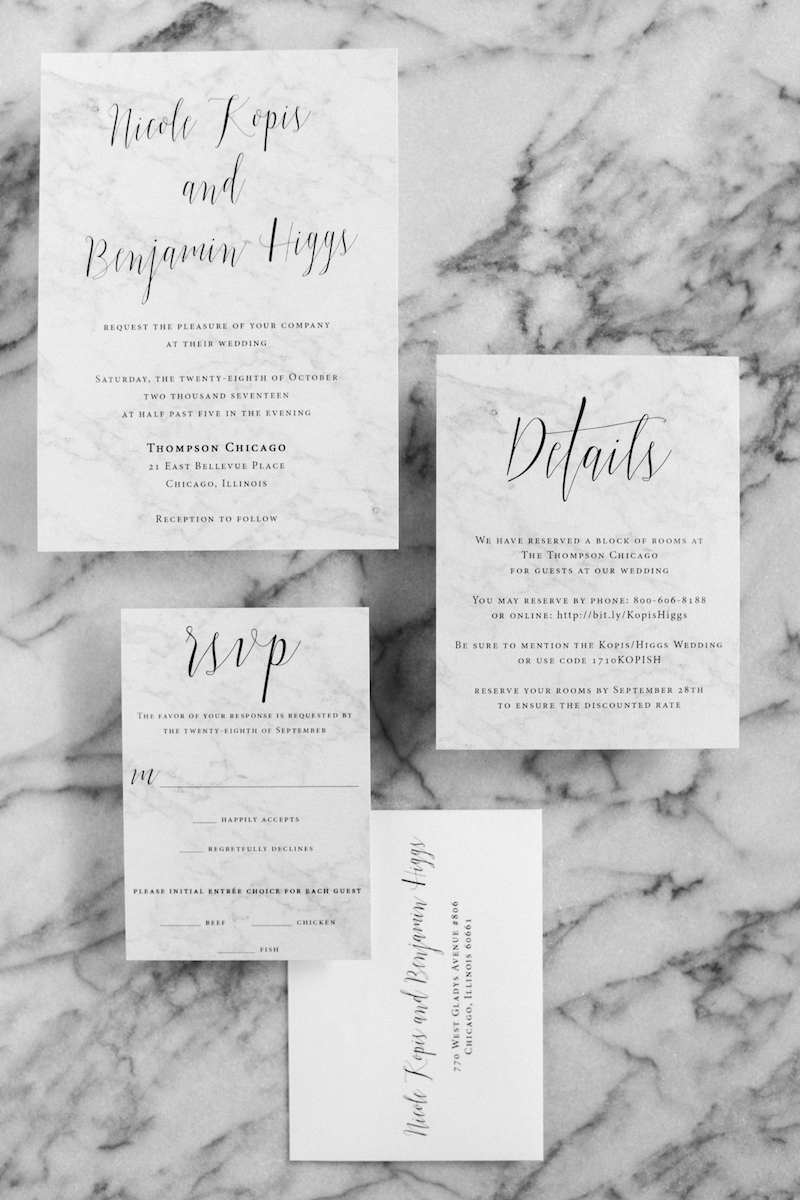 Detail Shot of Marble Invitations