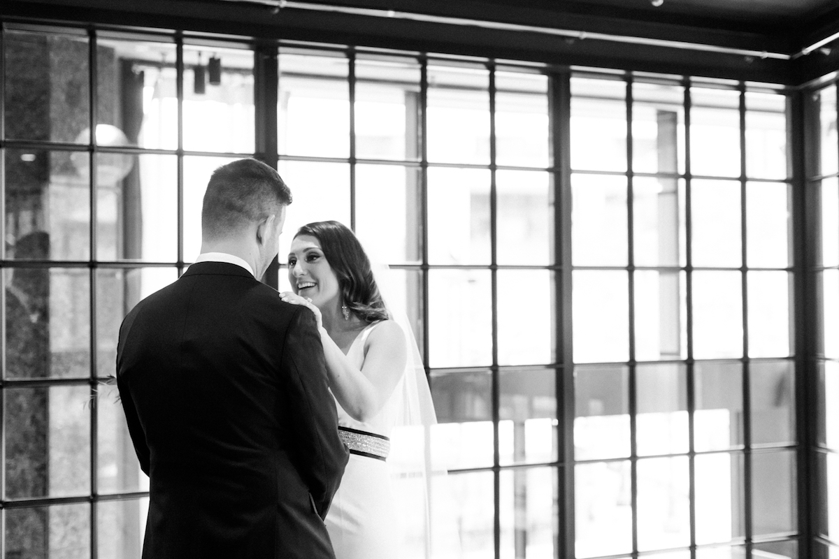 Bride and groom's first look at the Thompson Chicago downtown