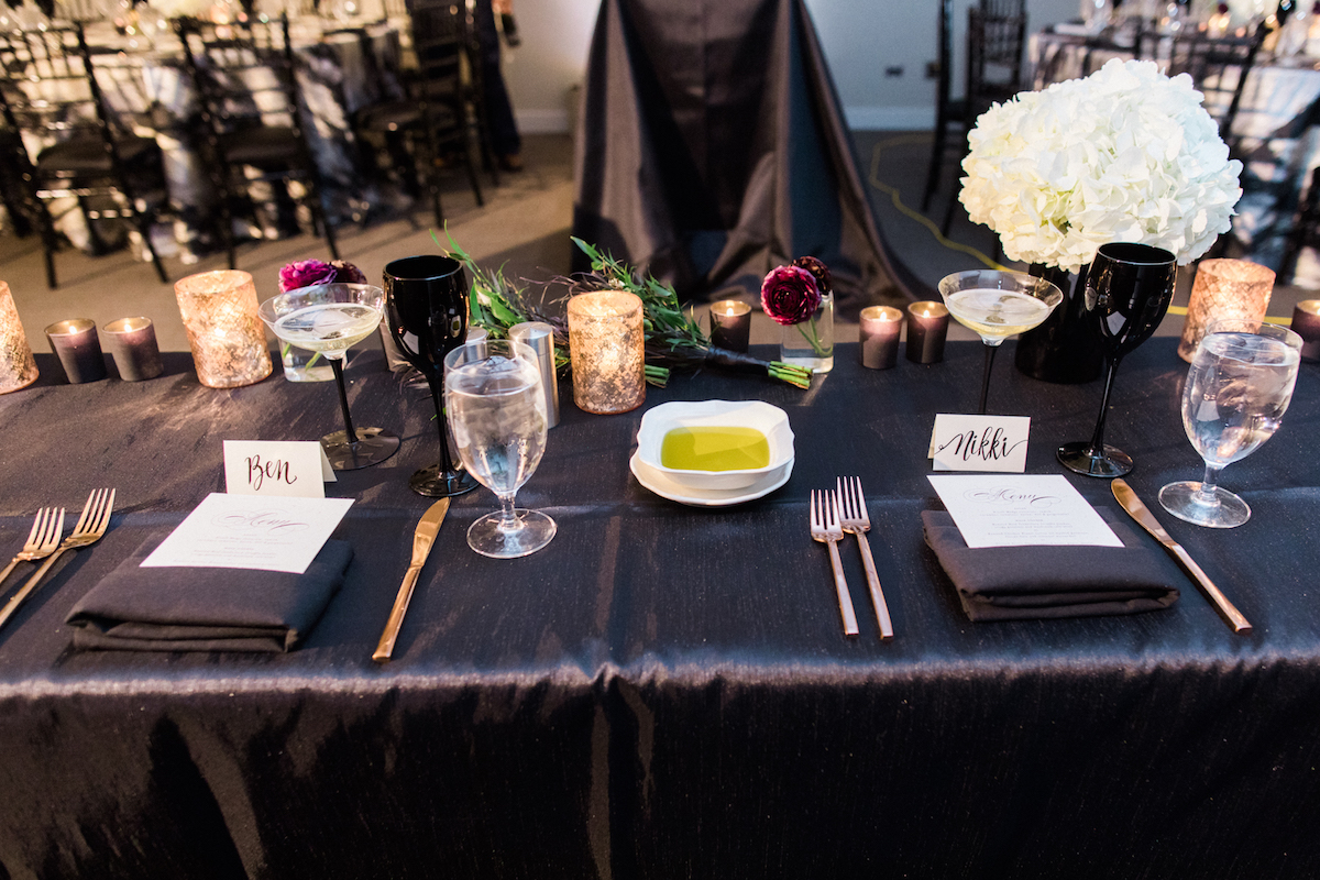 Head table with Bride and Groom escort cards