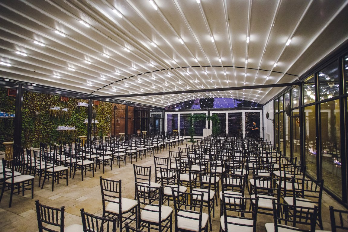 Room detail shot of the ceremony space at Galleria Marchetti