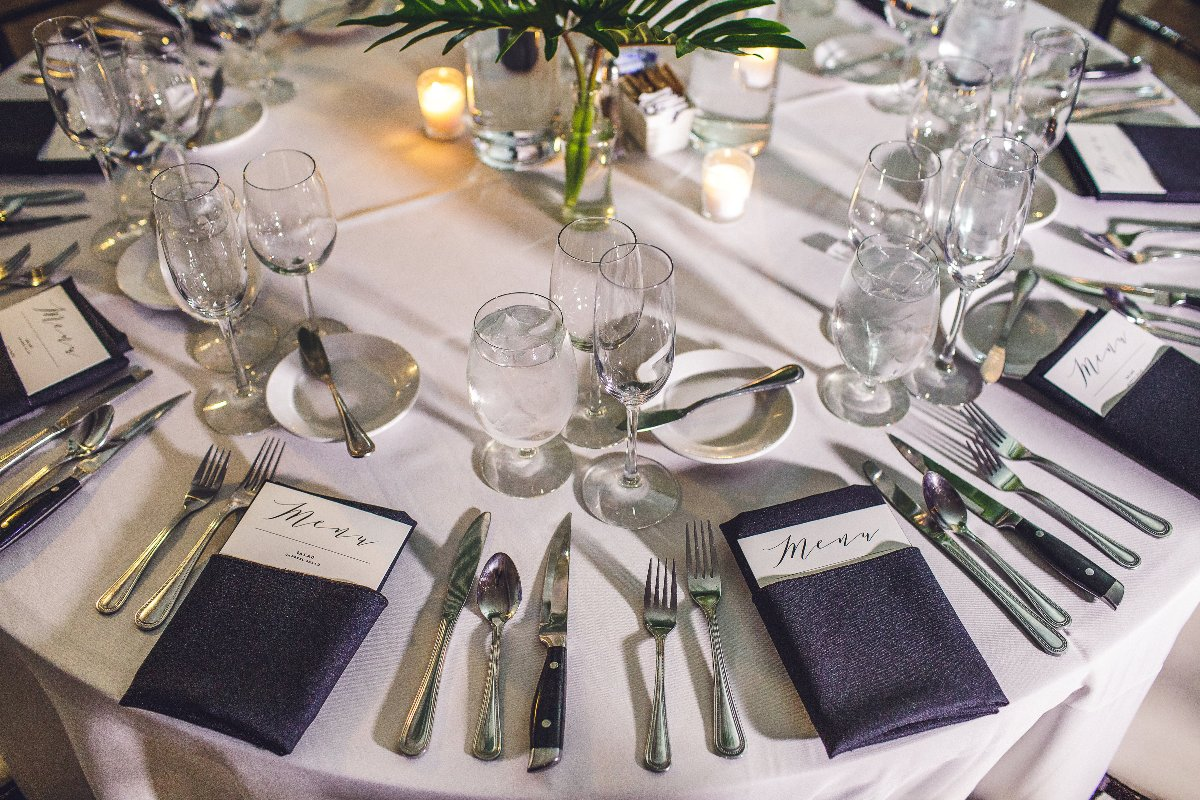 Place settings at modern wedding