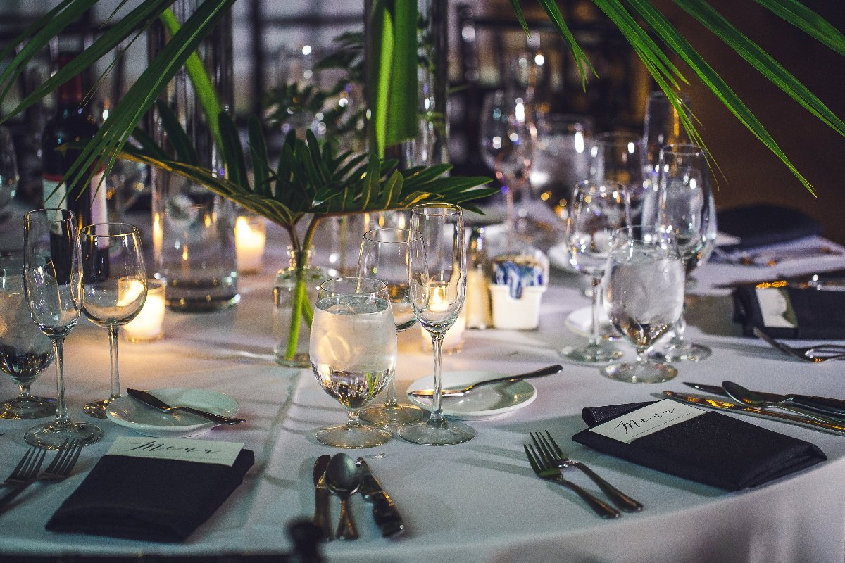 Table settings at wedding in Chicago