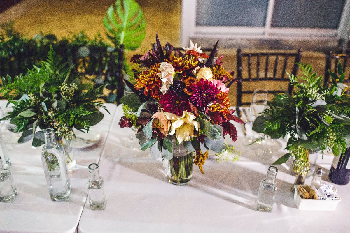Bridal bouquet at the head table at a wedding
