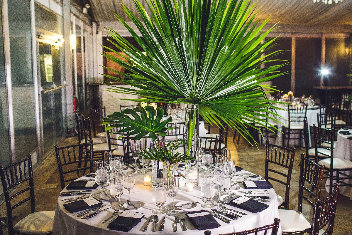 Palm leaf table centerpiece